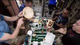 นักบินอวกาศกินพิซซ่าในสถานีอวกาศนานาชาติ