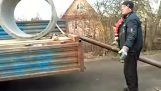 Unloading a concrete ring in Russia