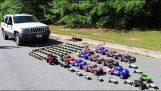 ¿Cuántos coches de juguete se necesita para tirar de un coche real?