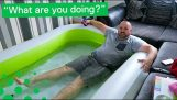 Man installs inflatable pool in his girlfriend's living room