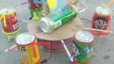 Handmade toy with cans