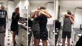 los padres shocked sorprendido cuando el hijo vuelve a casa