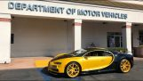 A 17-year-old boy is taking his driver's license in a Bugatti Chiron