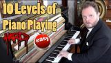 10 Нива на свирене на пиано