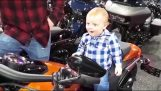 A toddler on a motorcycle