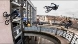Sebastian Keep rides BMX on a building wall
