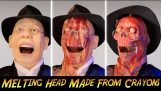 Recreating the melted face scene in Indiana Jones using crayons