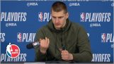 Nikola Jokic breaks the microphone