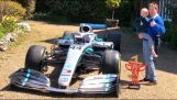 Lewis Hamilton sends his F1 car to the home of a boy with terminal cancer