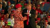 Trump invites a man with a wall suit on the stage