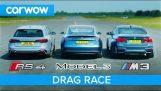 Tesla Model 3 срещу Audi RS4 срещу BMW M3