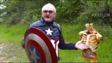 Old man disguised as Captain America throwing his shield to a ballistic gel dummy