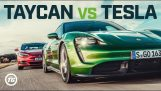 Drag Race between the Tesla Model S and the Taycan Turbo S
