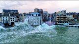 Високите вълни в Сен Мало, заснети от безпилотен самолет