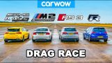 AMG A45S v BMW M2 v Audi RS3 v VW Golf R