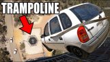 Car vs huge trampoline