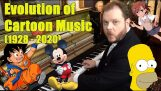 Evolution of cartoon music with a piano