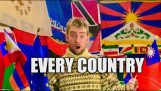 A man receives flags from around the world after kindly asking their embassies