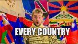 En mann får flagg fra hele verden etter vennlig ber sine ambassader