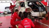 Citroen mechanics repair a badly damaged rally car in 30 minutes