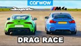 Drag Race: BMW M4 vs Toyota Supra modificată