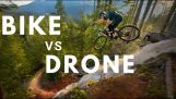 Drone chases mountain biker