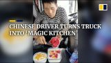 Truck driver cooks in his truck