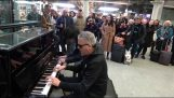 A piano battle in the London Underground