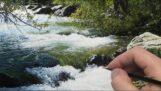 Peinture ultra-réaliste d'une rivière