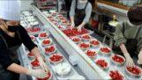 Making strawberry cakes in Korea