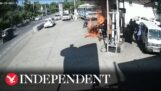 Two motorcycles catch fire at a gas station