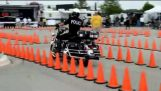 Police officer with skills in riding motorcycle