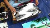 เป็นจิตรกรที่มีความสามารถในถนนของพม่า