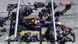 Ο τροχός ενός μονοθεσίου της Formula 1 χτυπά κάμεραμαν