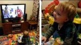 Dieťa a veselý reklamy