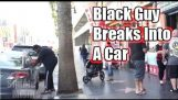 Svart fyr VS hvit fyr bryter inn i en bil