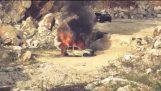 Auto met LPG explosie