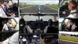 10 telecamere registrano l'atterraggio di un aereo