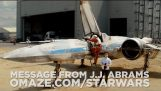 J.J. Abrams shows off an X-Wing fighter in new 'Star Wars: Episode VII' set video