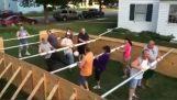 Træ bordfodbold med mennesker
