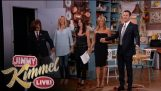 "Jennifer Aniston, Courteney Cox, Lisa Kudrow and Jimmy Kimmel in ""Friends"""