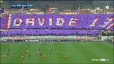 The Fiorentina game comes to a halt in the 13th minute as they pay tribute to Davide Astori