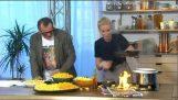 """电视节目主持人庆祝 """"奶酪涂鸦一天"""" 和一切着火!"""