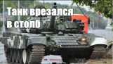 Accident with a tank in Minsk – a tank crashed into a pole