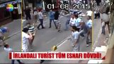 Irish tourist beats all the shopkeepers in a street in Turkey