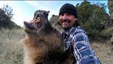 Mann und Grizzly Bear – Umschreiben der Geschichte