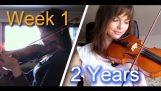 Violoniste débutant adultes – 2 années, les progrès vidéo