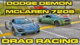 840HP Dodge Demone vs 710hp McLaren 720S Drag Racing 1/4 di miglio