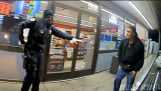 Bodycam ภาพของตำรวจสาหัสยิงคนที่มีปืนของเขาเอง