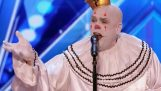 """Sad Shy Clown With His Mind Blowing Version of Sia's """"Chandelier""""   Week 1   America's Got Talent 20"""